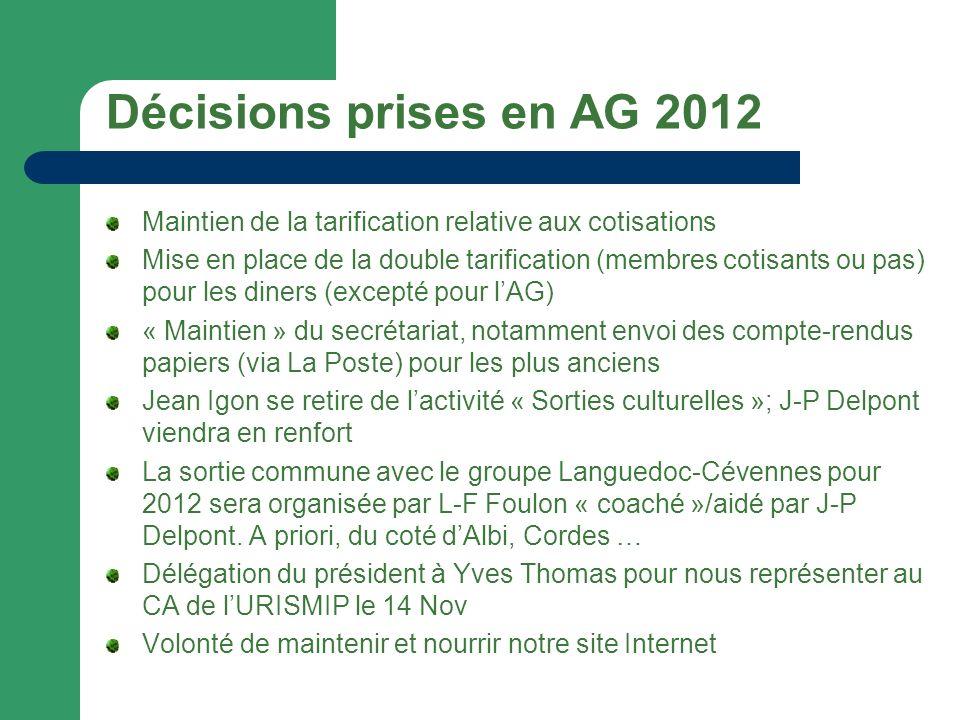 Décisions prises en AG 2012 Maintien de la tarification relative aux cotisations.