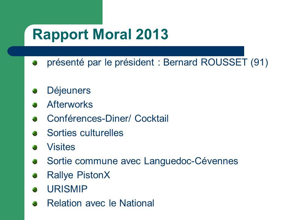 Rapport Moral 2013 présenté par le président : Bernard ROUSSET (91)
