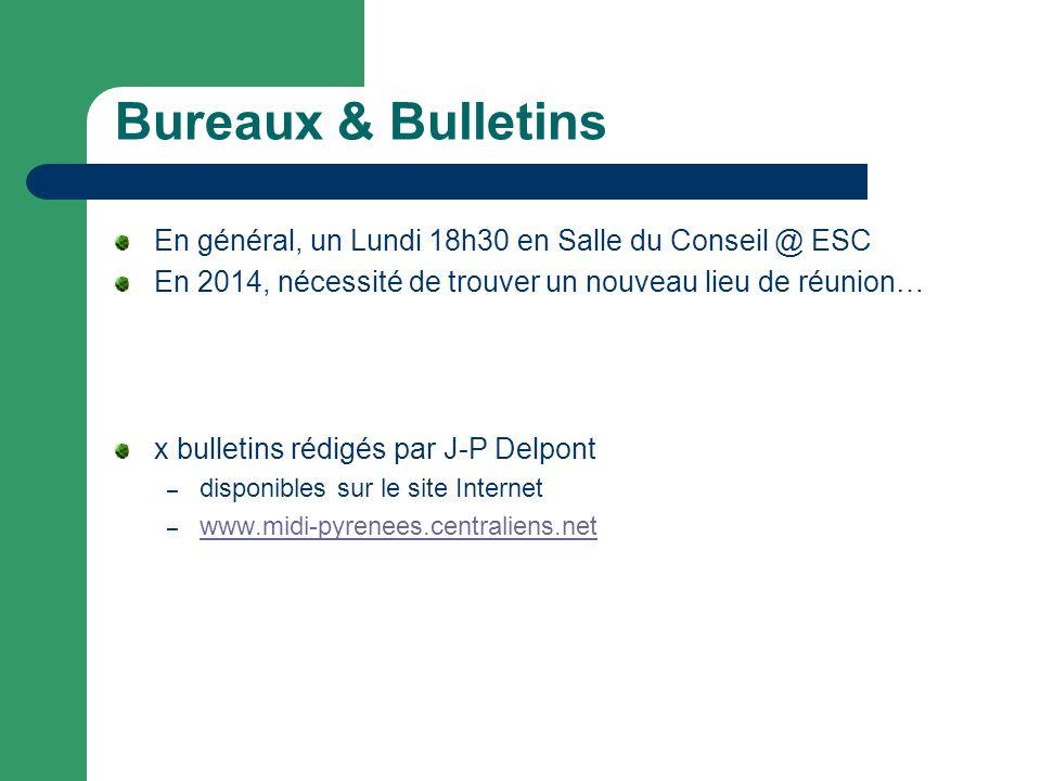 Bureaux & Bulletins En général, un Lundi 18h30 en Salle du Conseil @ ESC. En 2014, nécessité de trouver un nouveau lieu de réunion…