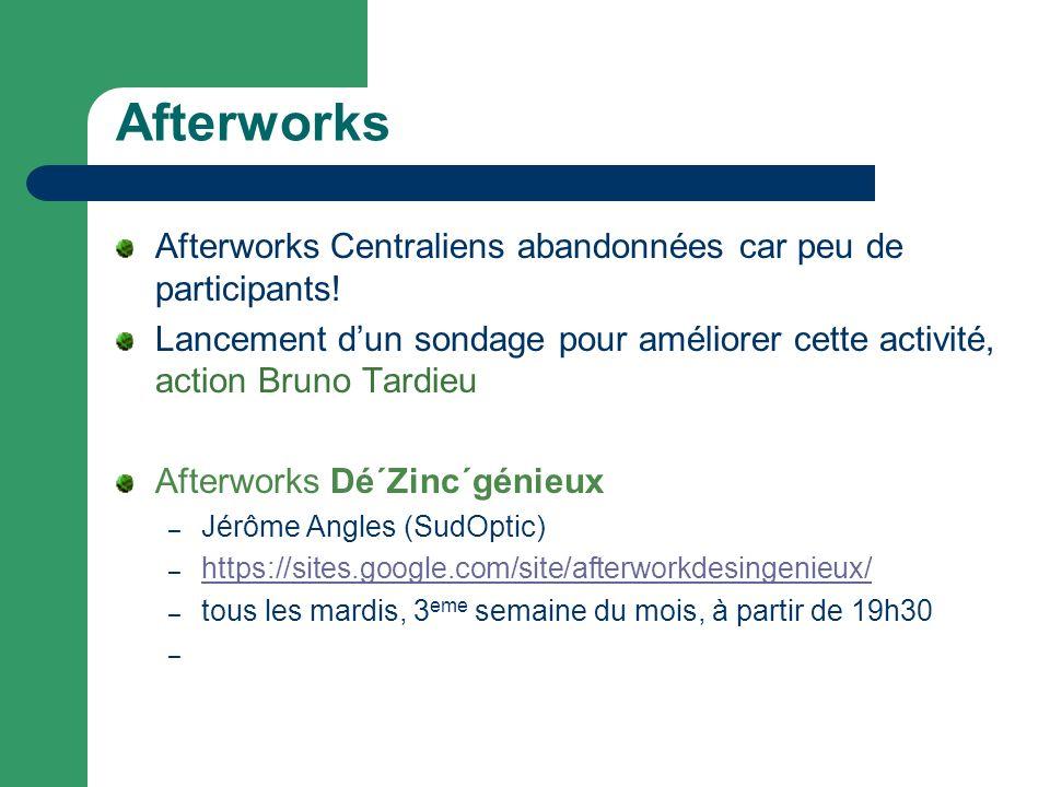 Afterworks Afterworks Centraliens abandonnées car peu de participants!