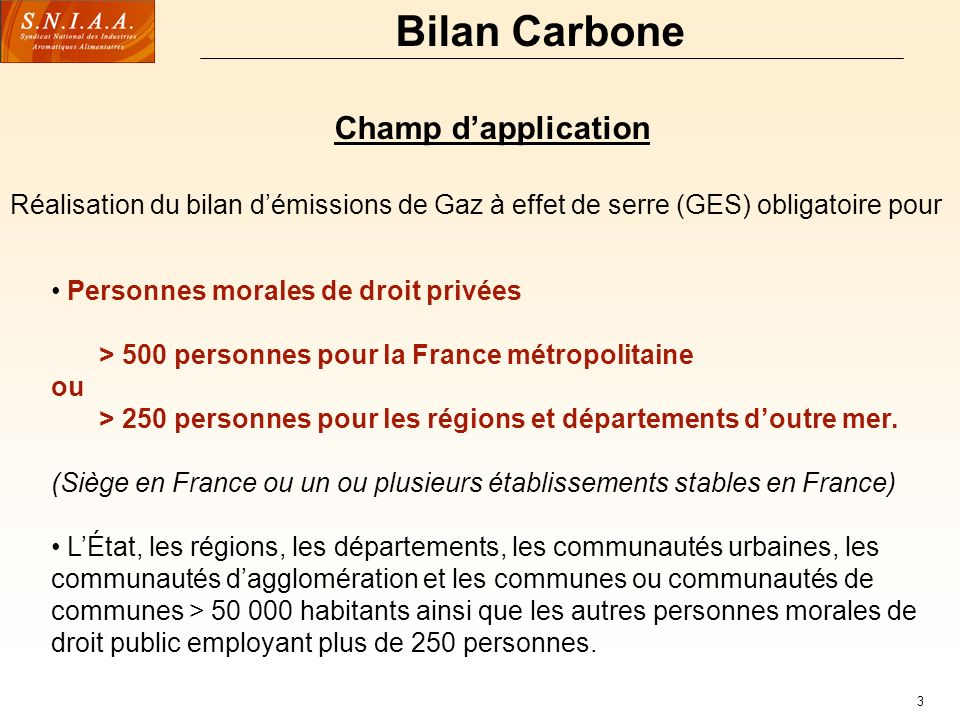 Bilan Carbone Champ d'application