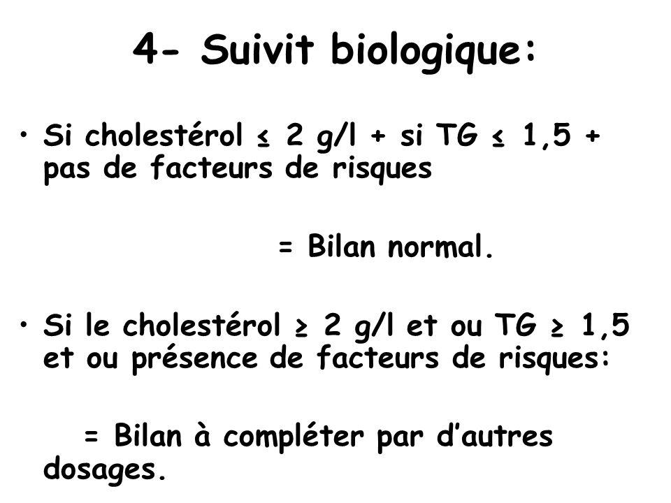4- Suivit biologique: Si cholestérol ≤ 2 g/l + si TG ≤ 1,5 + pas de facteurs de risques. = Bilan normal.
