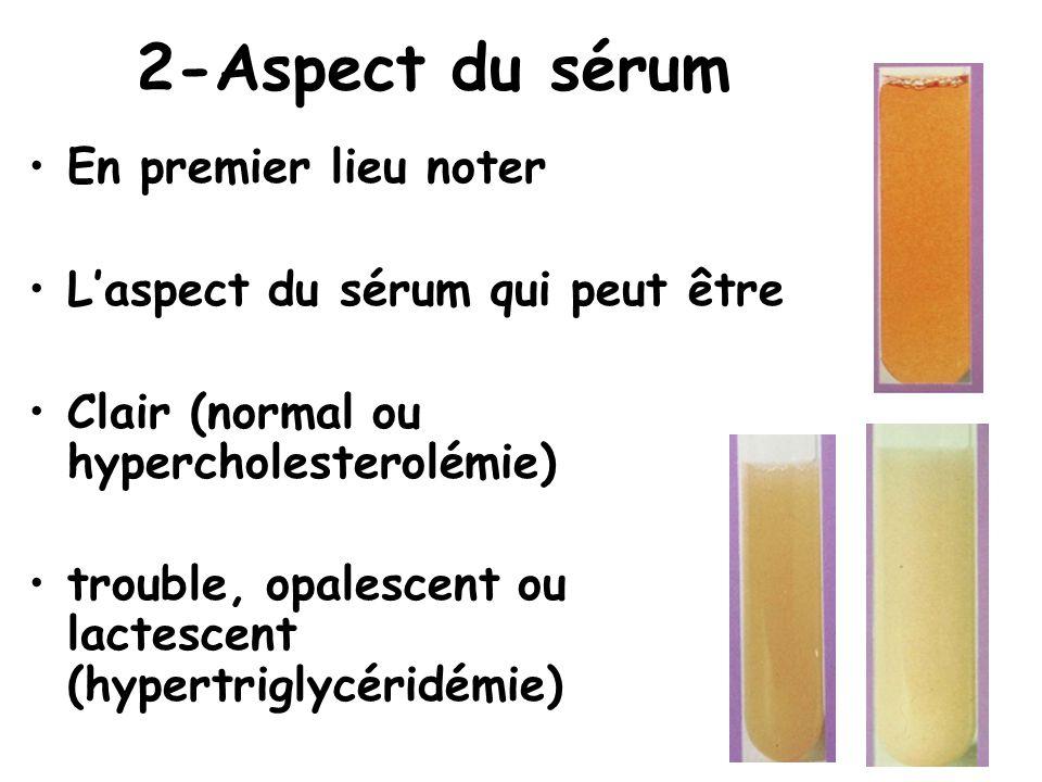 2-Aspect du sérum En premier lieu noter
