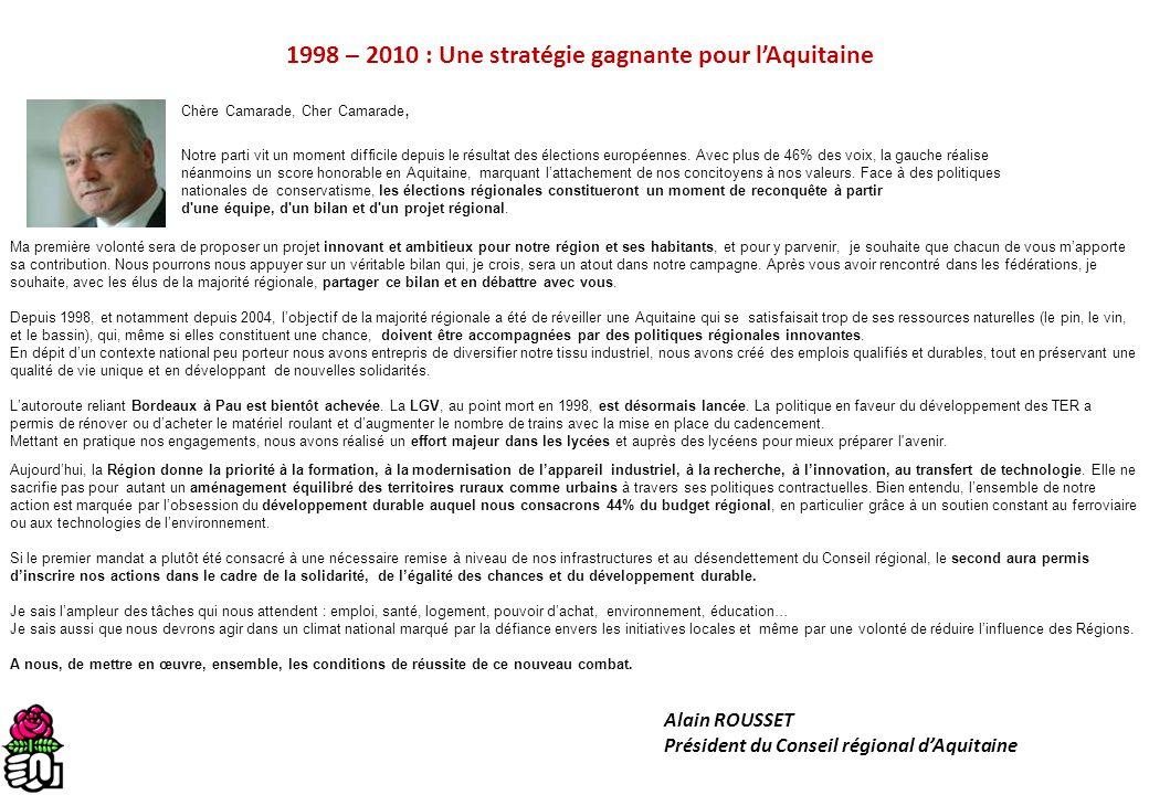 1998 – 2010 : Une stratégie gagnante pour l'Aquitaine