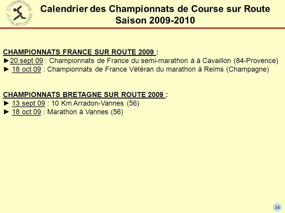 Calendrier des Championnats de Course sur Route Saison 2009-2010