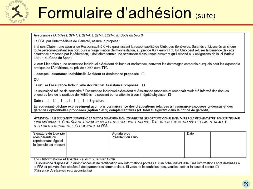 Formulaire d'adhésion (suite)
