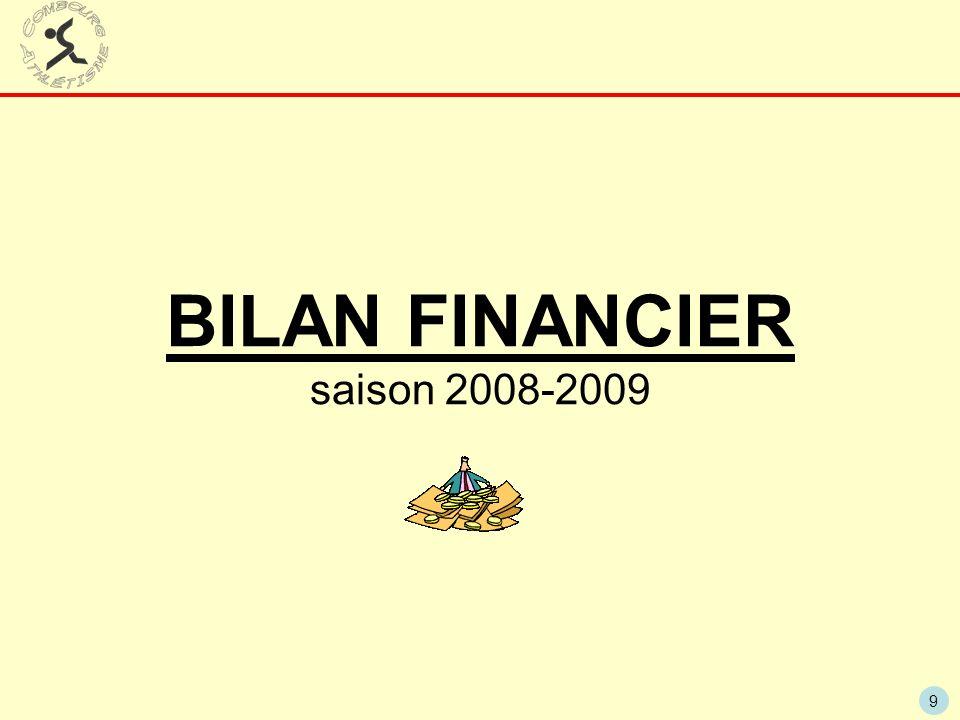 BILAN FINANCIER saison 2008-2009