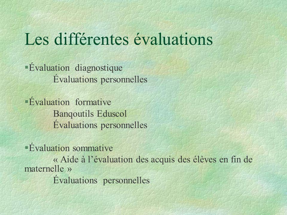 Les différentes évaluations