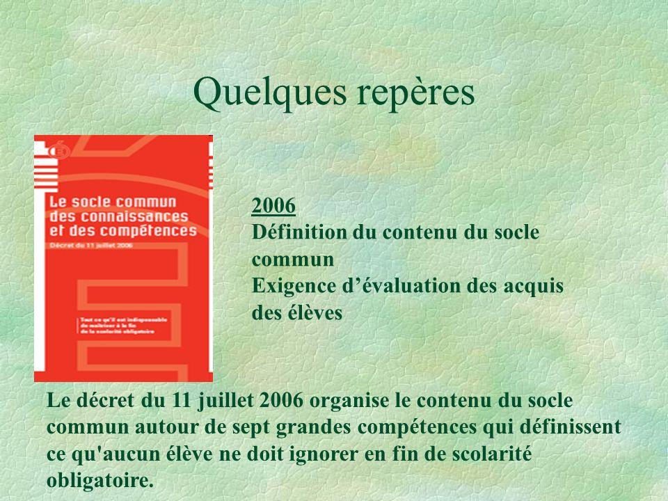 Quelques repères 2006 Définition du contenu du socle commun