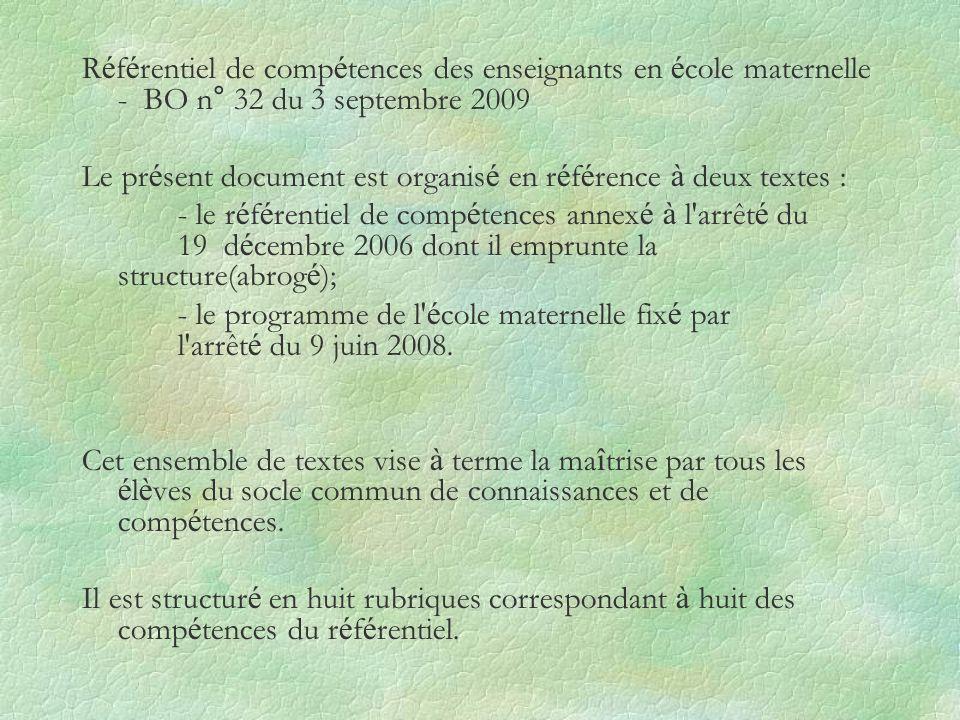 Référentiel de compétences des enseignants en école maternelle - BO n° 32 du 3 septembre 2009