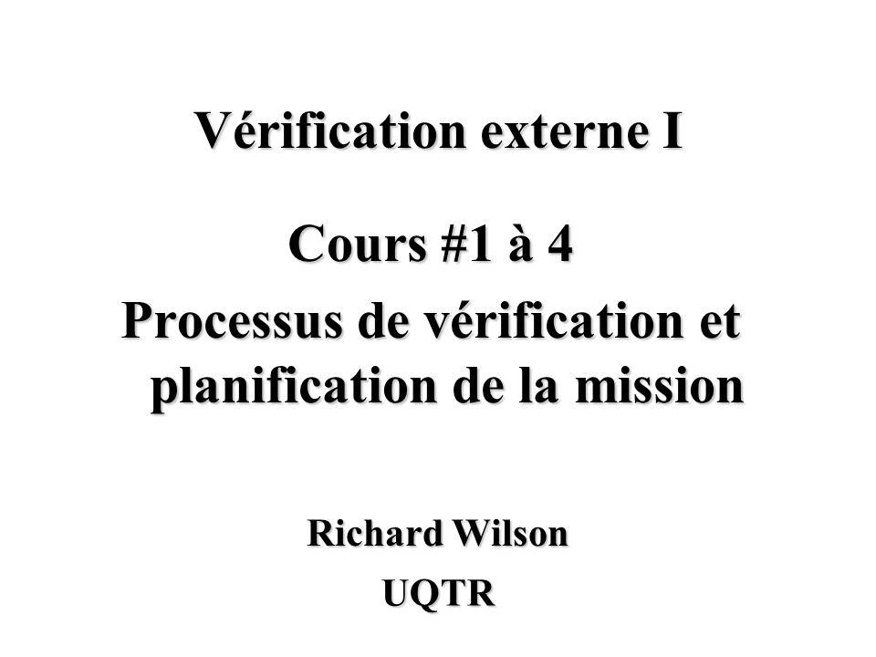 Cours #1 à 4 Processus de vérification et planification de la mission