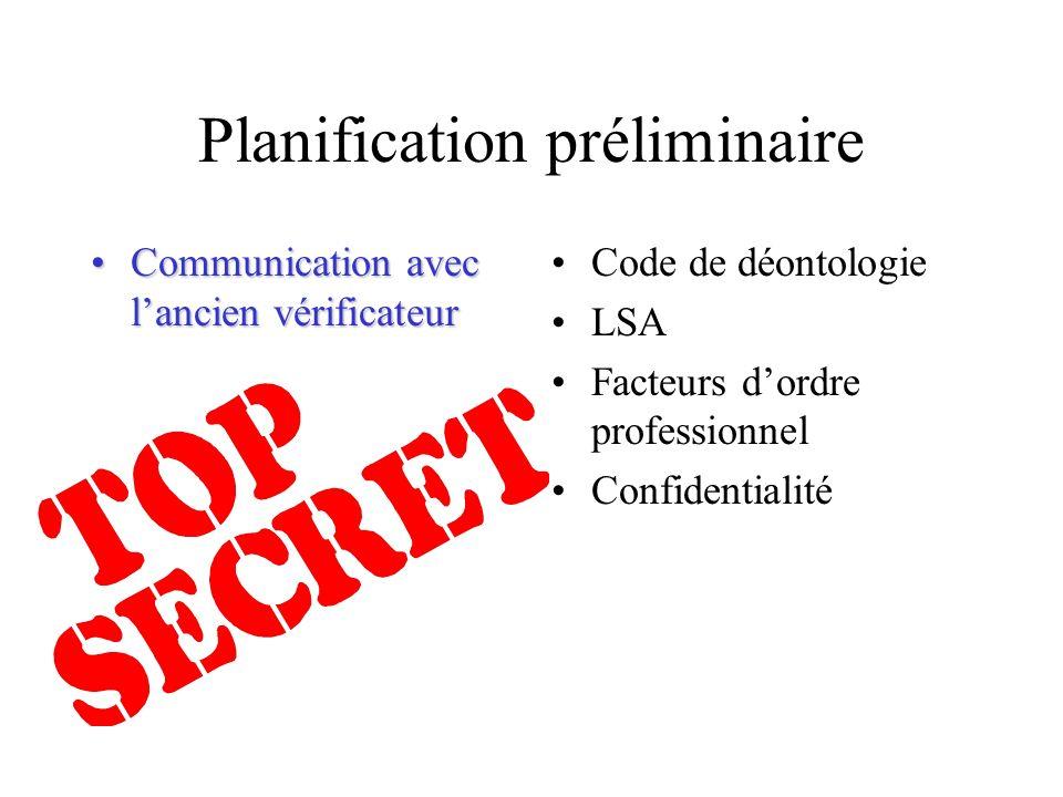Planification préliminaire