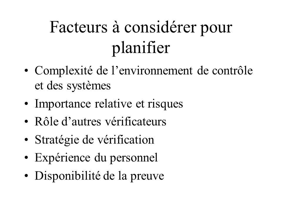 Facteurs à considérer pour planifier