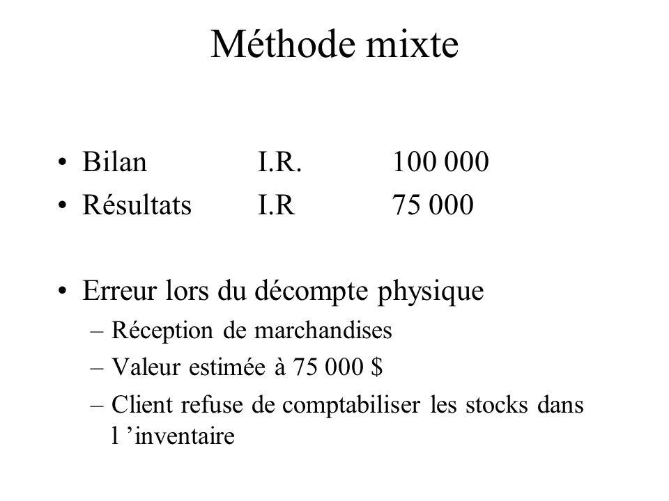Méthode mixte Bilan I.R. 100 000 Résultats I.R 75 000