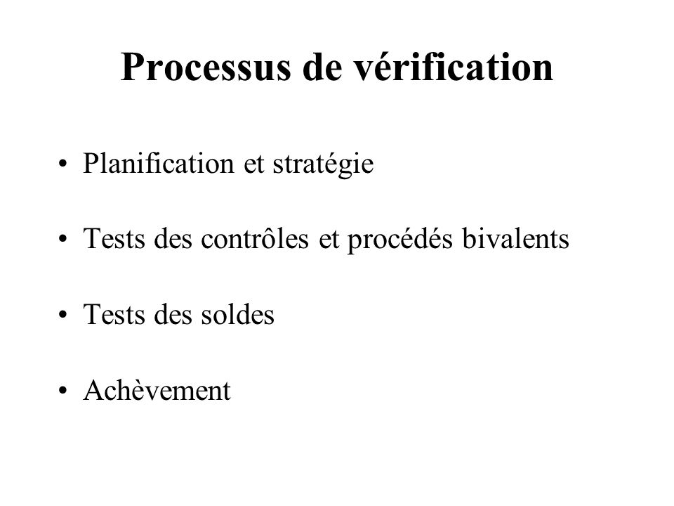 Processus de vérification