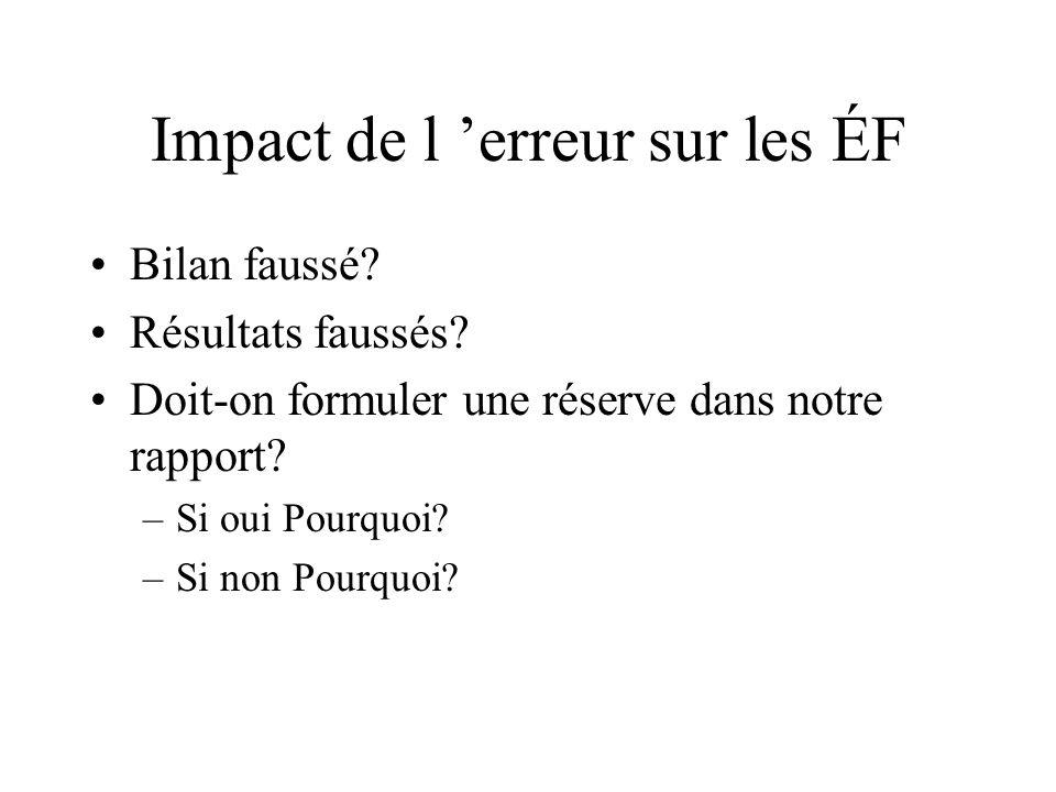 Impact de l 'erreur sur les ÉF