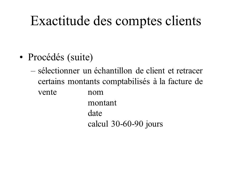 Exactitude des comptes clients