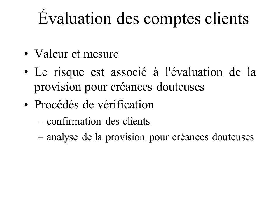 Évaluation des comptes clients