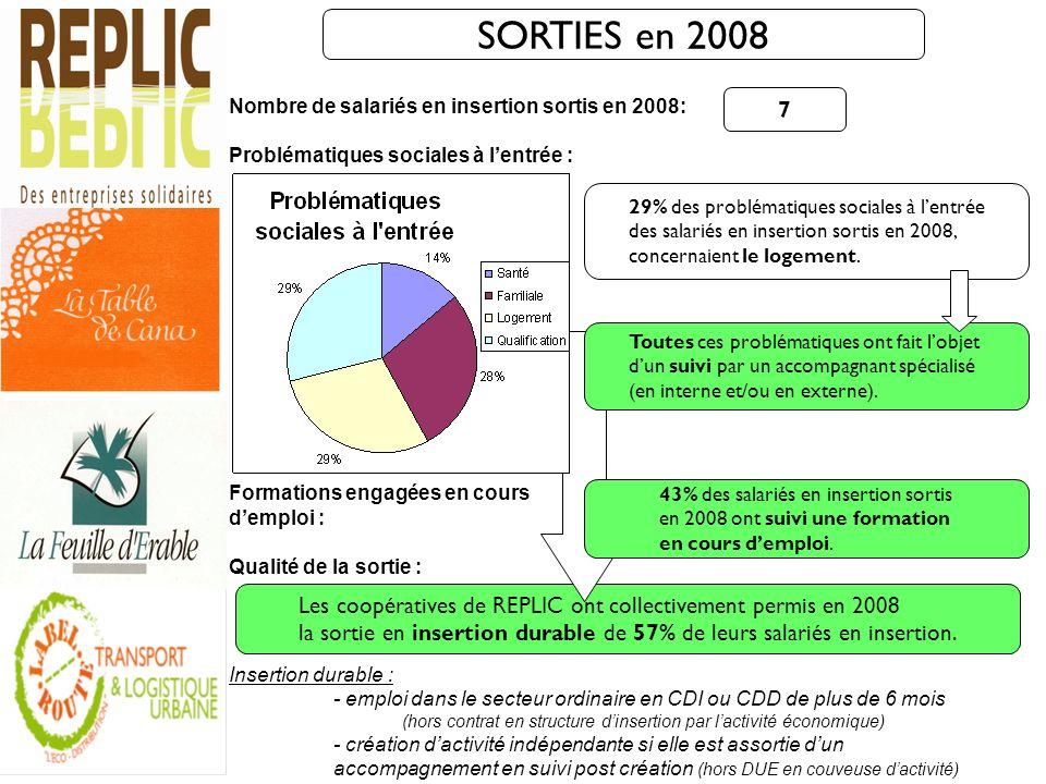 SORTIES en 2008 Nombre de salariés en insertion sortis en 2008: Problématiques sociales à l'entrée :