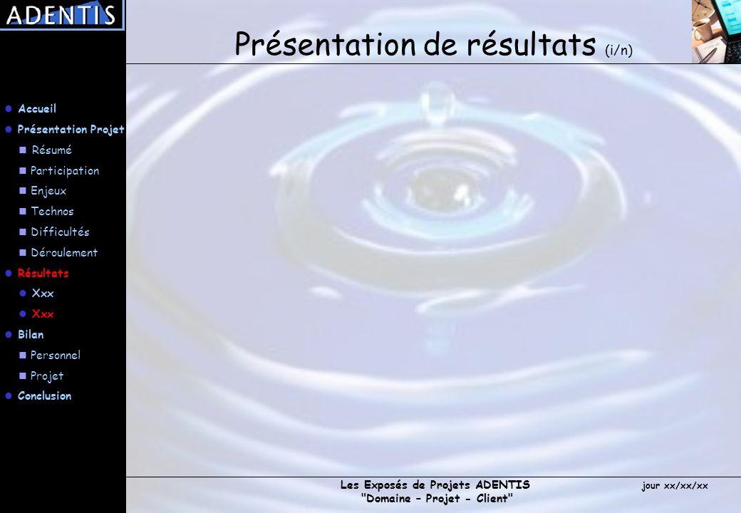 Présentation de résultats (i/n)