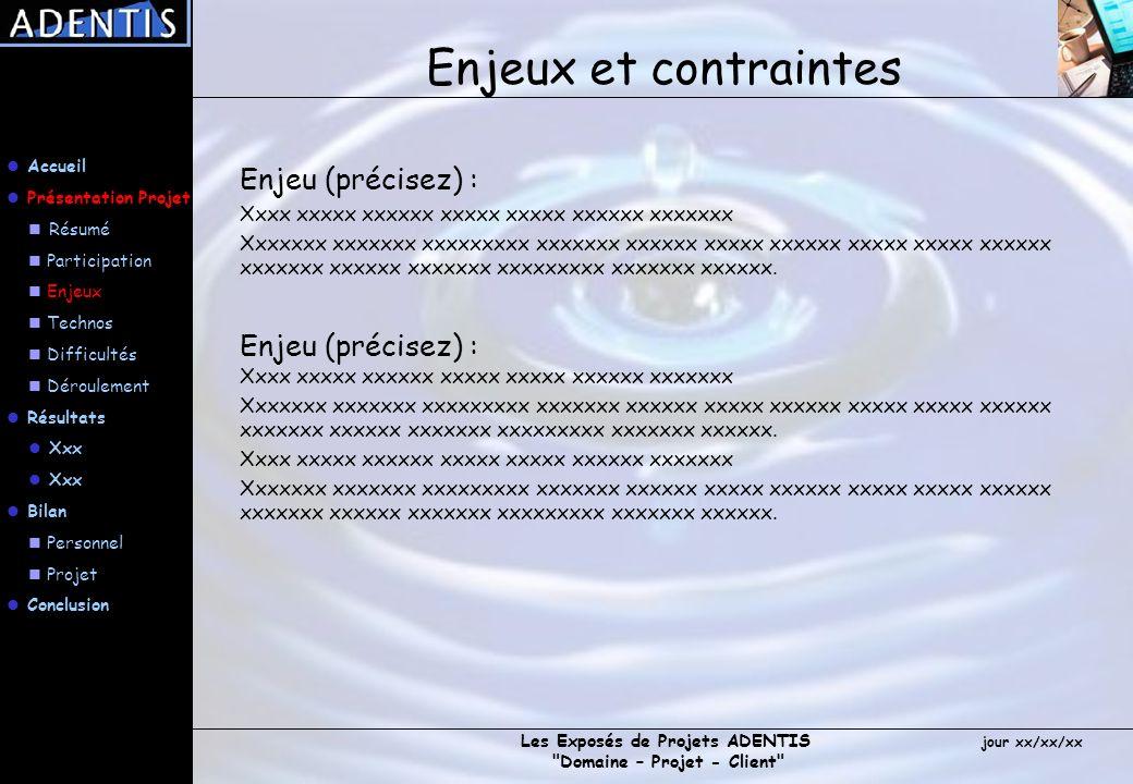 Enjeux et contraintes Enjeu (précisez) :