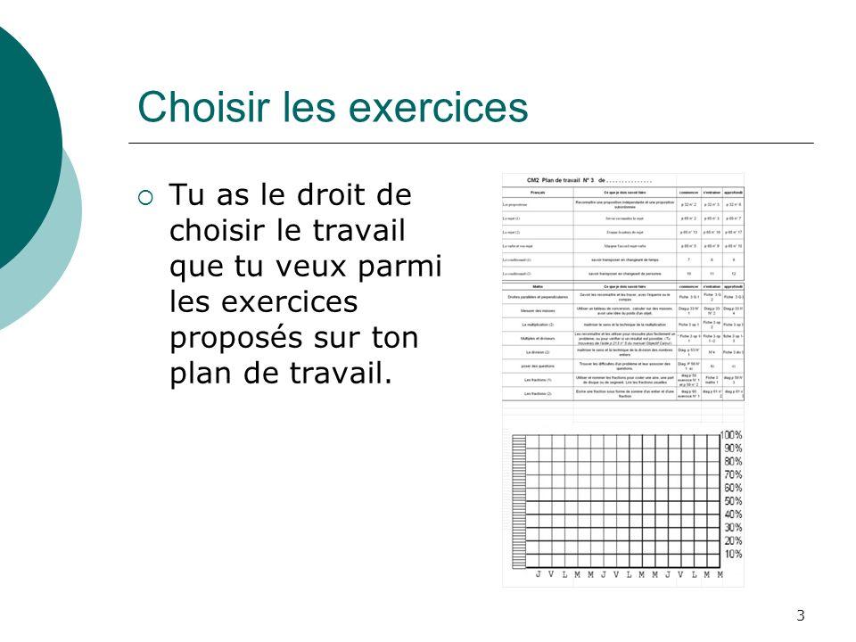 Choisir les exercices Tu as le droit de choisir le travail que tu veux parmi les exercices proposés sur ton plan de travail.