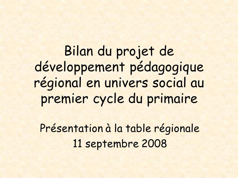 Présentation à la table régionale 11 septembre 2008