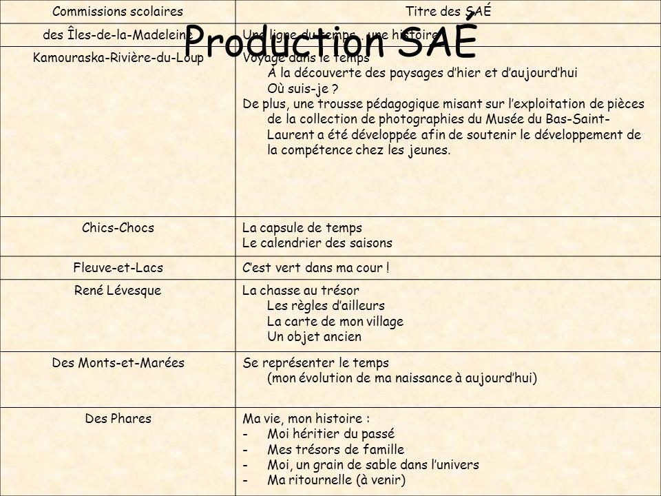 Production SAÉ Commissions scolaires Titre des SAÉ