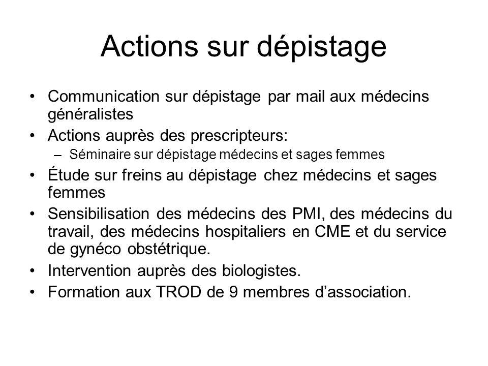 Actions sur dépistage Communication sur dépistage par mail aux médecins généralistes. Actions auprès des prescripteurs: