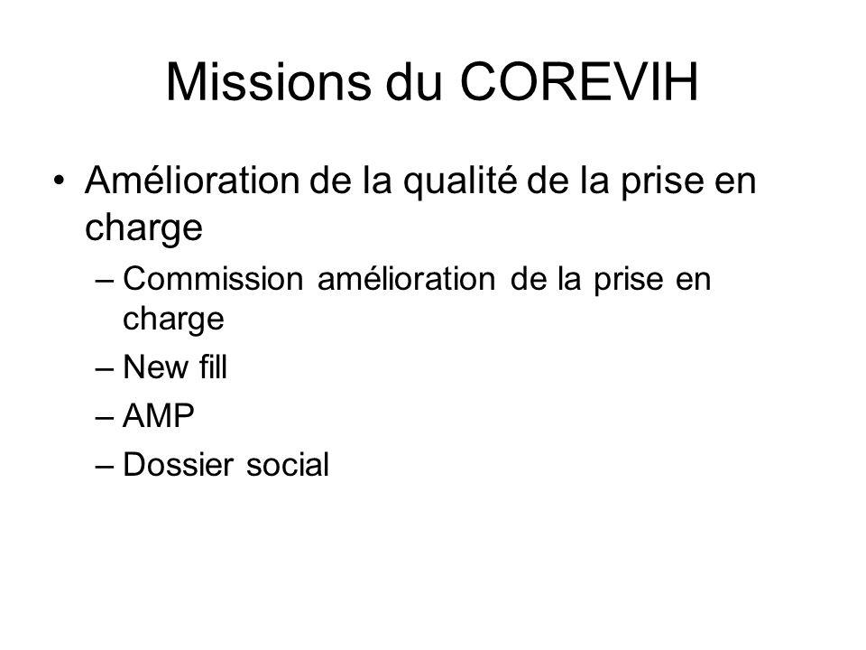 Missions du COREVIH Amélioration de la qualité de la prise en charge