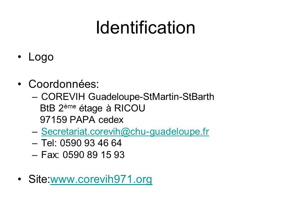 Identification Logo Coordonnées: Site:www.corevih971.org