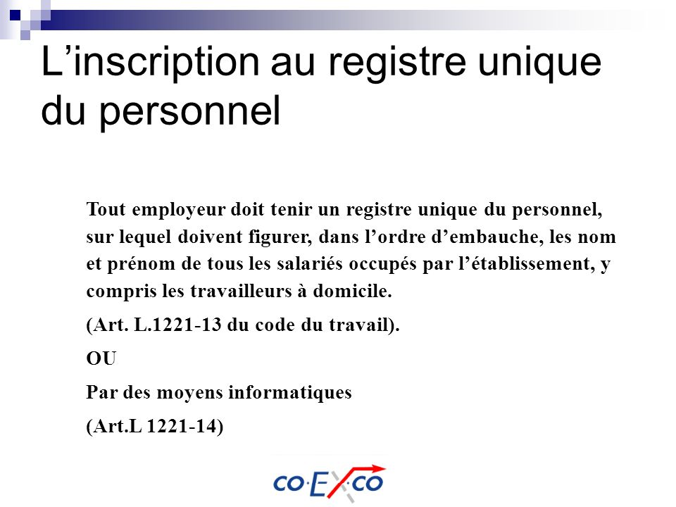 L'inscription au registre unique du personnel