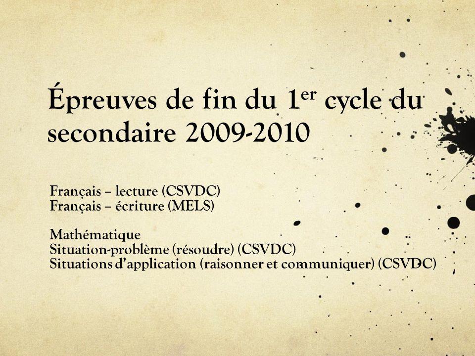 Épreuves de fin du 1er cycle du secondaire 2009-2010