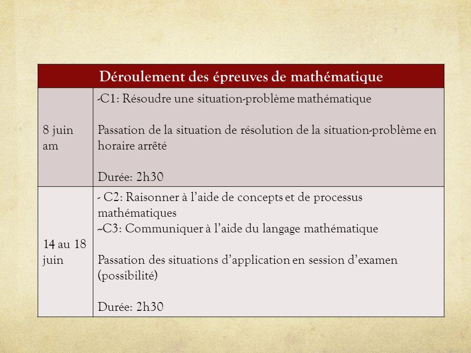 Déroulement des épreuves de mathématique