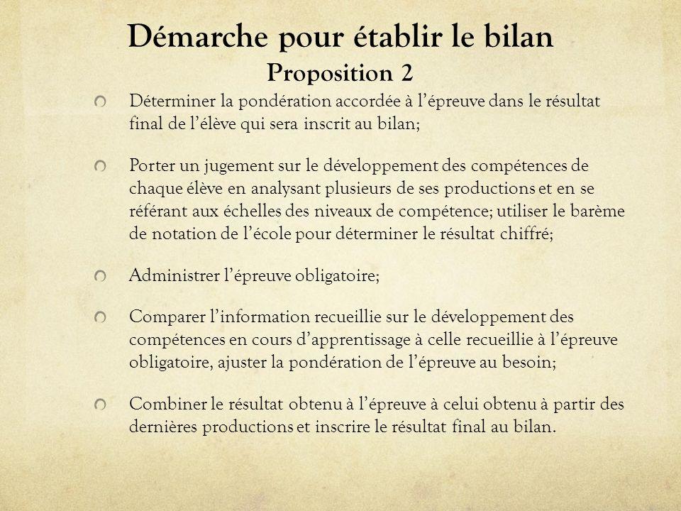 Démarche pour établir le bilan Proposition 2
