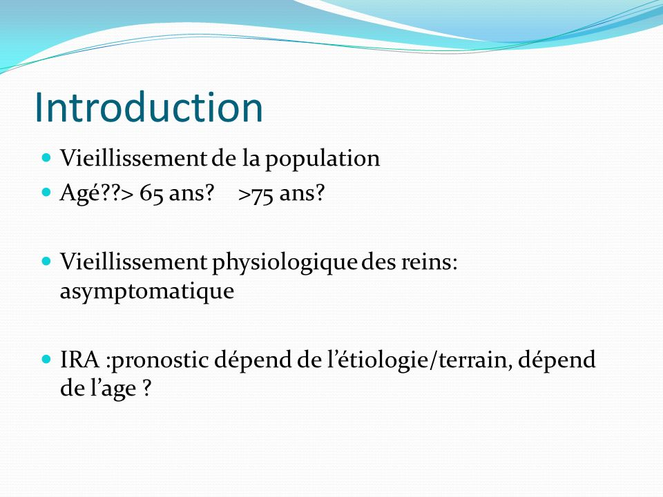Introduction Vieillissement de la population