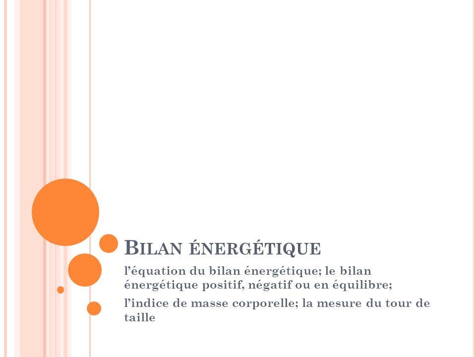 Bilan énergétique l'équation du bilan énergétique; le bilan énergétique positif, négatif ou en équilibre;