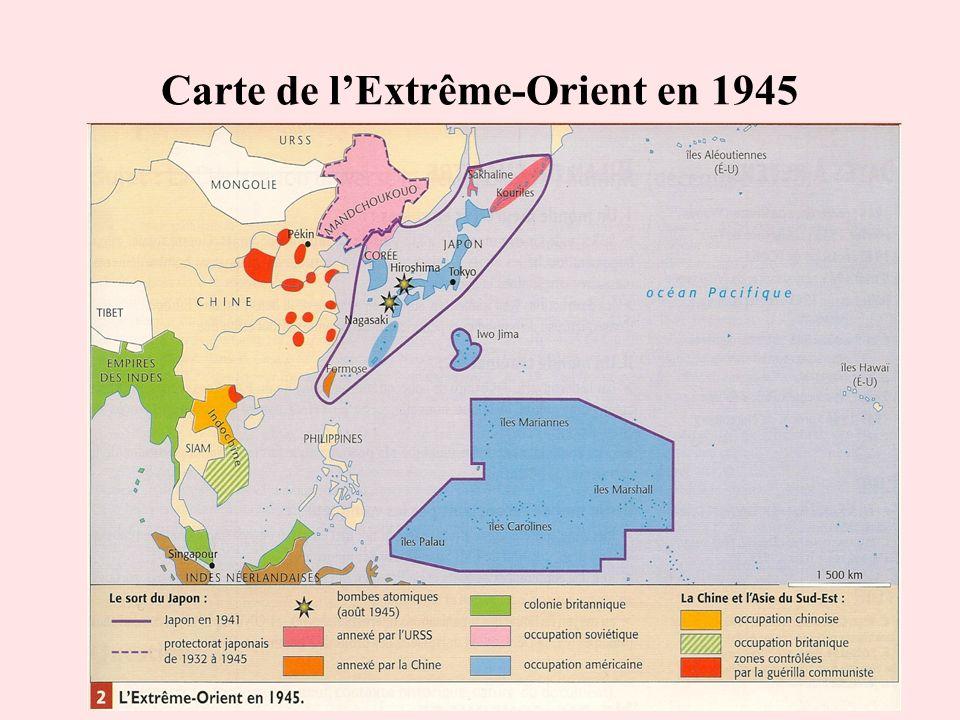 Carte de l'Extrême-Orient en 1945