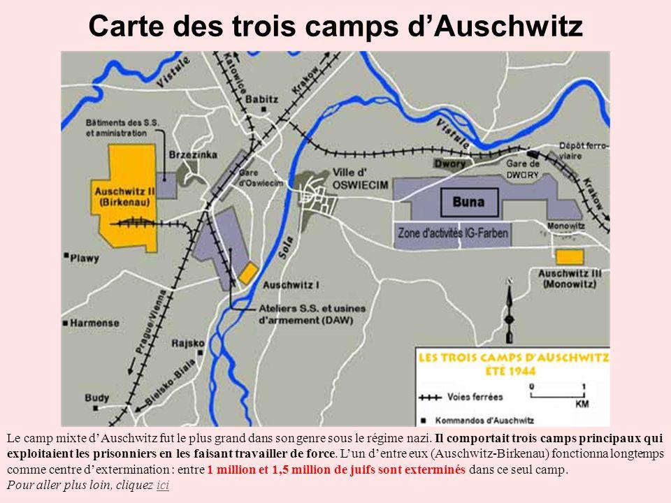 Carte des trois camps d'Auschwitz