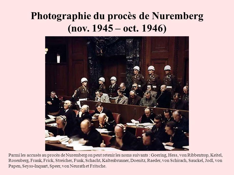 Photographie du procès de Nuremberg (nov. 1945 – oct. 1946)