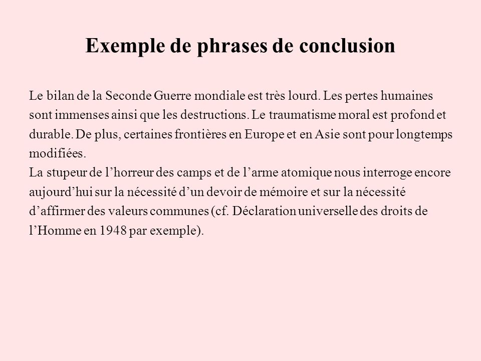 Exemple de phrases de conclusion