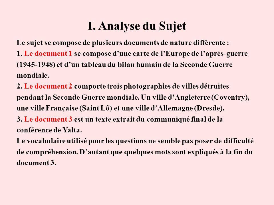 I. Analyse du Sujet