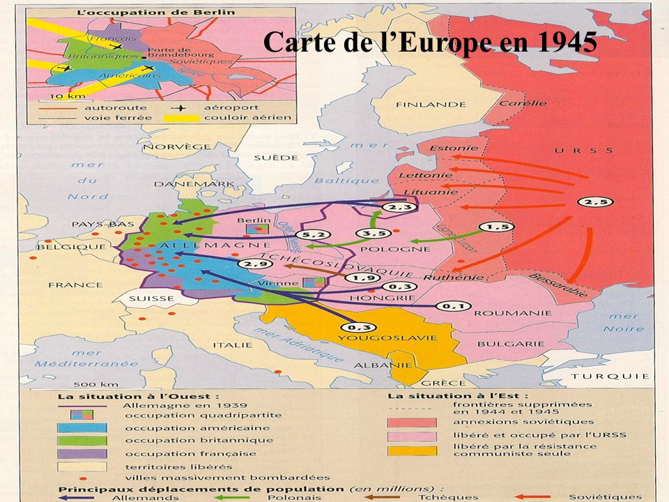 Carte de l'Europe en 1945