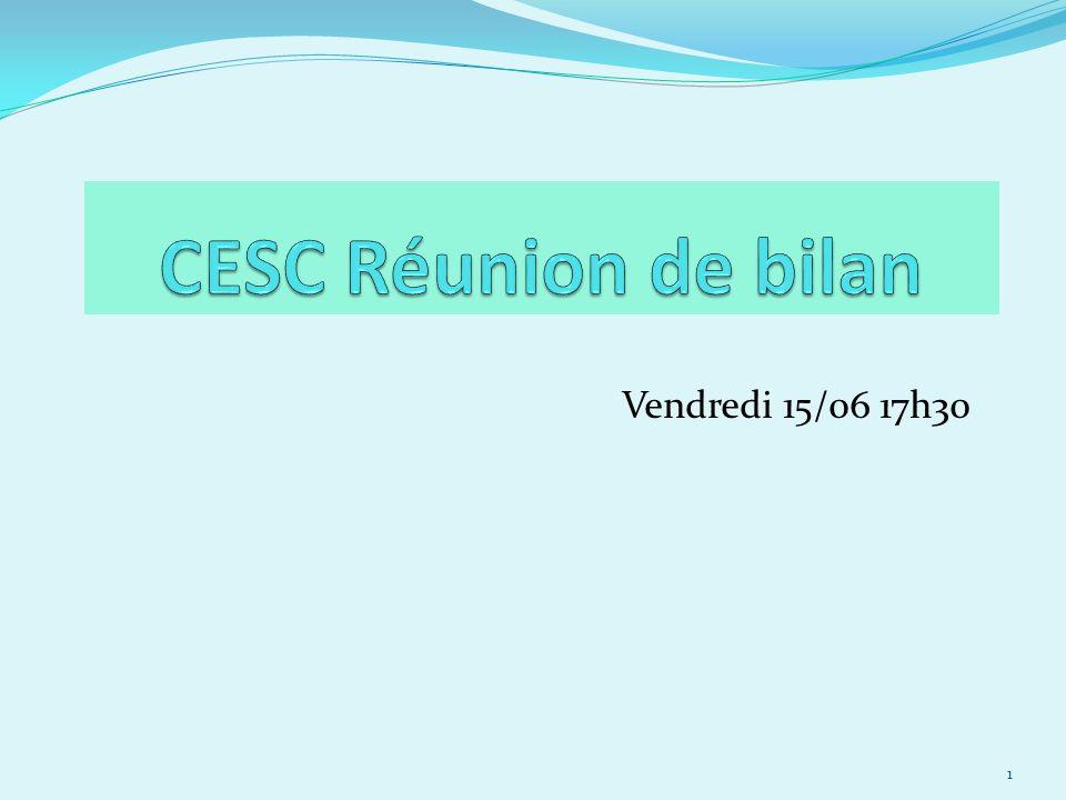 CESC Réunion de bilan Vendredi 15/06 17h30