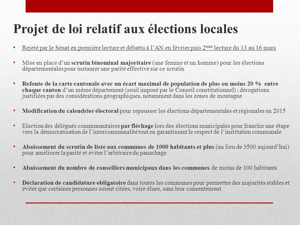 Projet de loi relatif aux élections locales