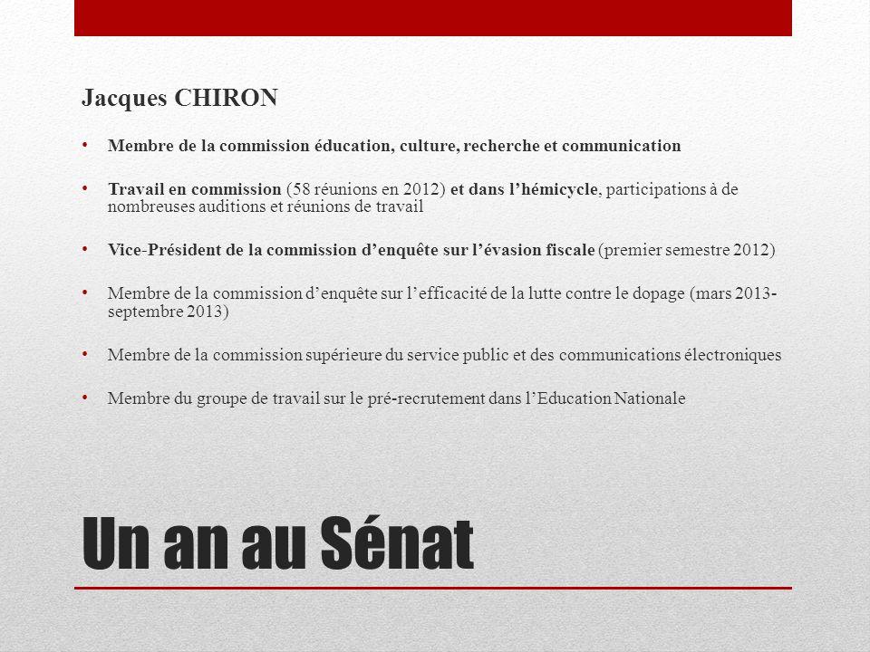 Un an au Sénat Jacques CHIRON