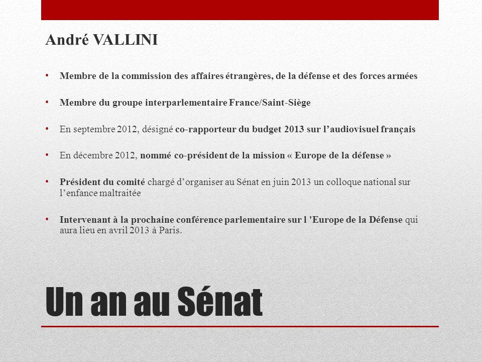Un an au Sénat André VALLINI