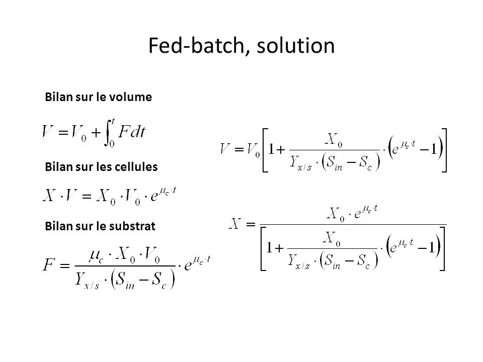 Fed-batch, solution Bilan sur le volume Bilan sur les cellules