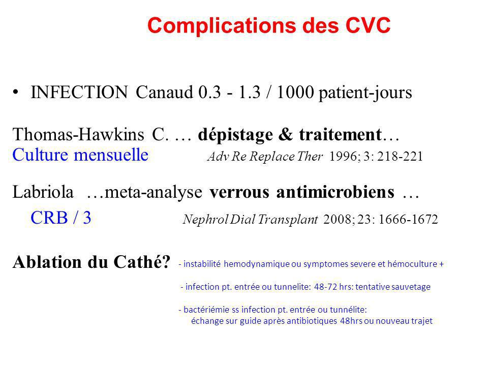 Complications des CVC INFECTION Canaud 0.3 - 1.3 / 1000 patient-jours