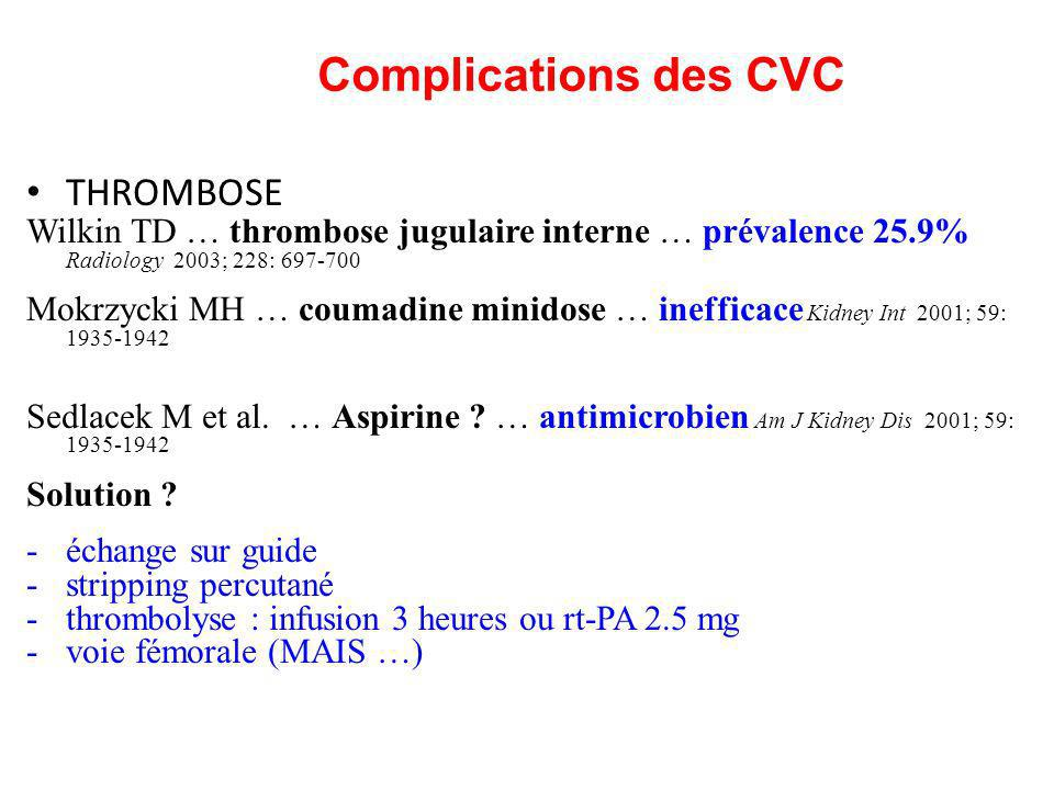 Complications des CVC THROMBOSE